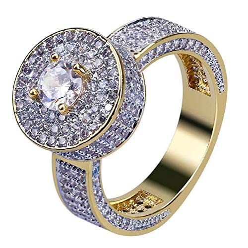 18k Gold Hip Hop Iced Out Lab Simulated Diamond Micro Pave CZ Ring for Men,9# (Pave Diamond Wedding Ring)