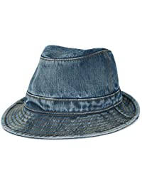 ililily klassischer Stil gewaschene Baumwolle Denim Fedora Hut