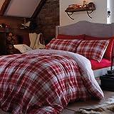 Flannelette Red Tartan check Reversible 100 % Cotton Flannelette Duvet Set Luxury Bedding Set Single Bed Size Red
