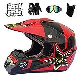 Motocross Helm Set, Schwarz und Rot/ 5 Stück, Motorradhelm Cross Helme Schutzhelm für Motorrad...
