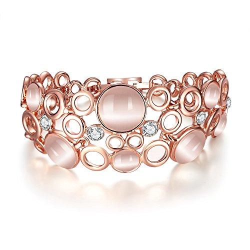 Donne Ragazze Moda Oro Rosa cerchi cristalli 18K Real placcato oro Bracciale catena corpo gioielli