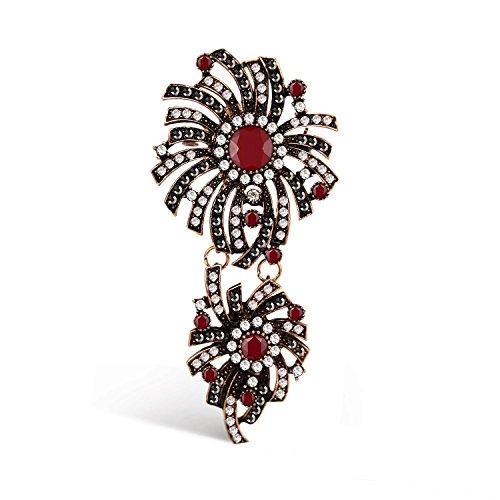 Emma gioielli - spilla ciondolo retrò vintage fiore fiori pl. oro ramato anticato e cristalli swarovski elements bianchi e rossi - confezione regalo