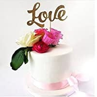 Love Gold Glitter Card Cake Topper - cake decoration, fancy cake topper