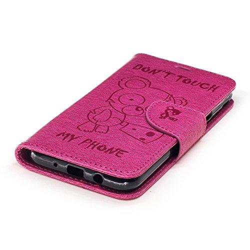 Voguecase Pour Samsung Galaxy J3 2017 Coque, Étui en cuir synthétique chic avec fonction support pratique pour iPhone 5S (Ours-Marron)de Gratuit stylet l'écran aléatoire universelle Ours-Rose