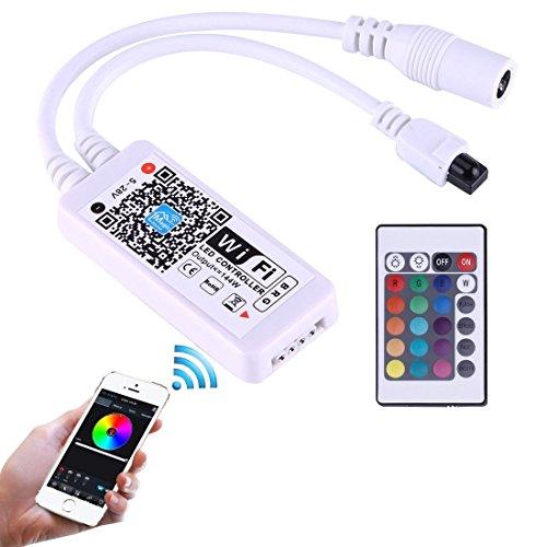 Light Controller, Mini Wifi RGB LED Remote Controller avec 24 touches de télécommande, Support iOS 6 ou ultérieur et Android 2.3 ou ultérieur, DC 5-28V