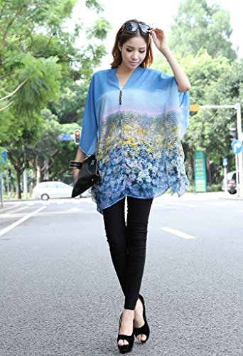 Smile YKK Femme Veste avec V Col Tops Chiffon Floral Gros Taille Bleu Clair