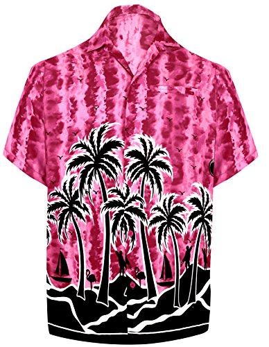 LA LEELA männer Hawaiihemd Kurzarm Button Down Kragen Fronttasche Beach Strand Hemd Manner Urlaub Casual Herren Aloha Rosa_246 3XL Likre 1908