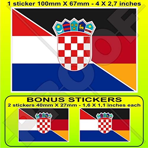 KROATIEN-DEUTSCHLAND Kroatisch-Deutsch Flagge 100mm Auto & Motorrad Aufkleber, Vinyl Sticker x1+2 BONUS