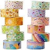 YUBX Washi Tape, 12 Rouleaux Masking Tape ruban décoratif Imprimé Feuille d'or pour arts et travaux manuels de bricolage, scr