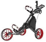 Caddytek EZ 3-Rad Golftrolley Golfcaddy Golfwagen Trolley Pushtrolley (schwarz/rot) inkl. Zubehör Schirmhalter Getränkehalter Kühltasche