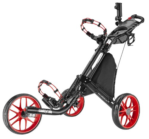 Caddytek EZ 3-Rad Golftrolley Golfcaddy Golfwagen Trolley Pushtrolley (schwarz/rot) inkl. Zubehör Schirmhalter Getränkehalter Kühltasche