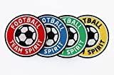 4er-Set Fussball Abzeichen 60 mm / Football Team Spirit / Aufbügler Aufnäher Applikation Bügelbild Sticker Patch / Iron on Patches für Team Dress Trikot Shorts T-Shirts / Fußball Mannschaft Spieler Verein Fan