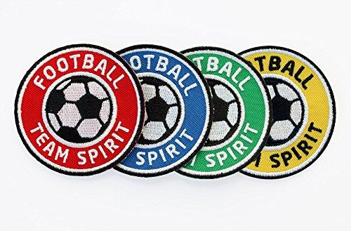 4er-Set Fussball Abzeichen Team Spirit 60 mm / Stickerei Aufbügler Aufnäher Applikation / Patch für Team Dress Trikot Shorts Kleidung T-Shirts / für Fußball Mannschaft Spieler Verein Fan (Team-logo-patch Runde)