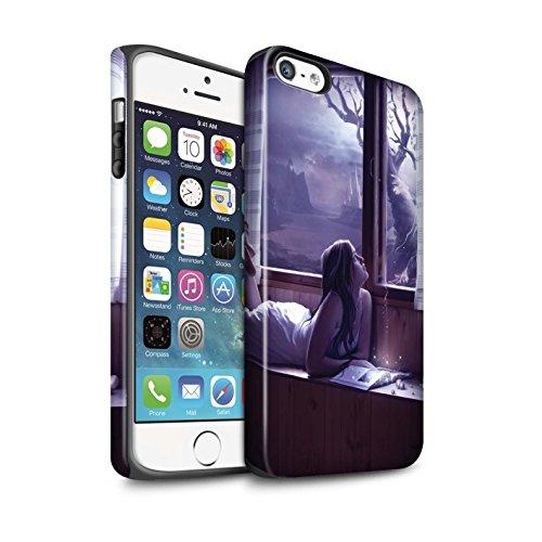 Officiel Elena Dudina Coque / Matte Robuste Antichoc Etui pour Apple iPhone SE / Luz Sombra Design / Art Amour Collection Distraits