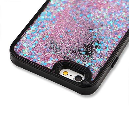 SKYXD Antiurto Morbido Silicone Gel TPU Custodia per iPhone 6 6S 4.7,Cover 3D Creativo Disegni Lusso Bling Glitter Clessidra Liquido Sabbie Stella Nero Opaca Coperture Protettive Back Case per iPhone Colore 05