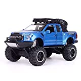 Bseion 1:24 Anniversaire en Alliage De Véhicule ABS en Plastique Camion Pick-up Friction Inertie Camion Son Et Lumière Pull Back Jouet Voiture Enfants SUV ( Color : Blue )