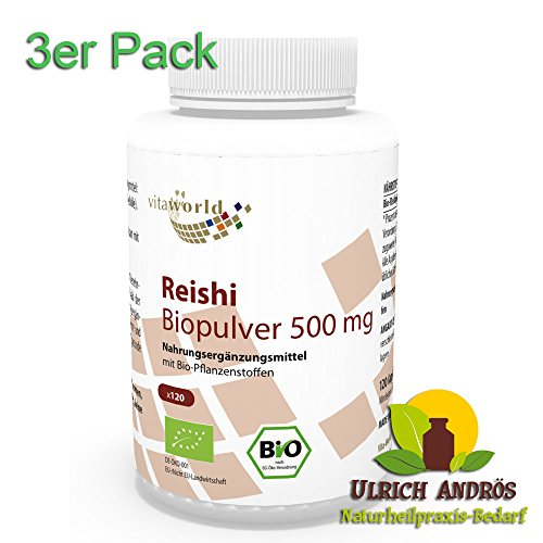 3er Pack Vita World Reishi Pulver Bio Qualität 500mg 360 Kapseln Apotheken Herstellung Ling Zhi