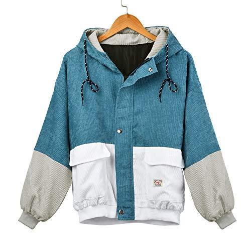 NEVRTP Coats Damen, Mode Frauen Langarm Cord Patchwork Oversize Jacke Windbreaker Mantel Frühling Herbst Winter Stilvoll Bequem Outwear Cord-zip-jacke
