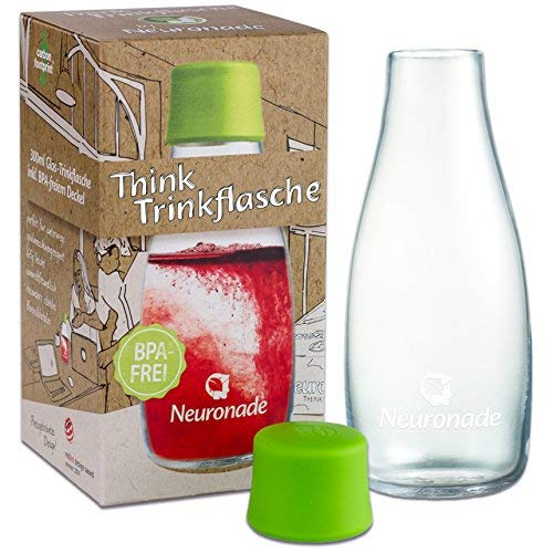 Trinkflasche aus Glas 0,3 Liter von Neuronade® I stabiles Borosilikatglas & 100{d893de45848d373f1fe69a72e7fd969ae2244f125ec7f6b7ed4f698a69f52943} BPA frei I praktische Glasflasche für unterwegs im Retap Design, inkl. Deckel
