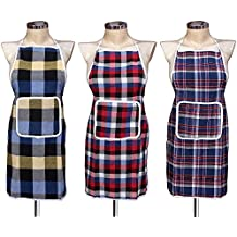 GLUN Waterproof Cotton Kitchen Apron with Front Pocket (Color May Vary) Set of 3