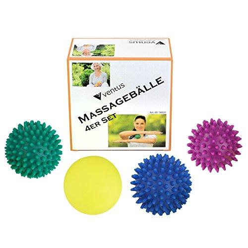 4er Set Igelbälle Massageball KAI-UWE & Friends Noppenball Reflexball Massagebälle Therapie Ball Igelball