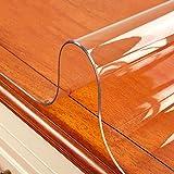 HM&DX Kunststoff Transparent Tischdecken Geldklammer Wasserdicht Ölfreie Schmutzabweisend Weiche 2mm dicken Tisch-abdeckung Essen kaffee tischbelag-Klar 90x160cm(35x63inch)