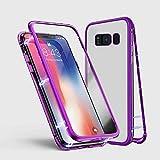 Samsung Galaxy S7 Hülle, Jonwelsy Metallrahmen Magnetische Adsorption Handyhülle mit eingebautem Magnetklappdeckel, Ultra Dünn Gehärtetes Glas Transparente Back Cover für Samsung Galaxy S7 (Lila)