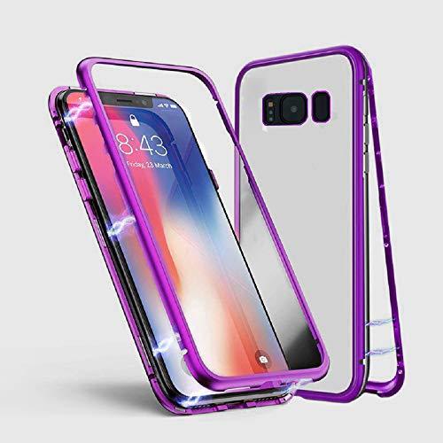 Kompatibel für Samsung Galaxy S9 Hülle, Jonwelsy Metallrahmen Magnetische Adsorption Handyhülle mit eingebautem Magnetklappdeckel, Ultra Dünn Gehärtetes Glas Transparente Back Cover für S9 (Lila) Back Cover Blende
