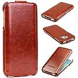 Original Tabker® Fashion Flip Samsung Galaxy S6 Edge Flip Tasche Cover Schutz Hülle Case Schale Etui Braun