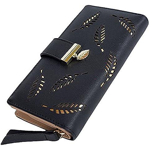 Damen Lang Geldbörse Portemonnaie aus PU Leder Hollow Out Feder Design Schwarz Aprikose Blau Kaffee (Schönes Portemonnaie)