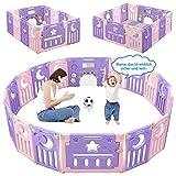 Dripex Laufgitter Laufstall Baby Absperrgitter 14-Paneele Schutzgitter Krabbelgitter für Kinder aus Kunststoff mit Tür und Spielzeugboard (Rosa-Lila)