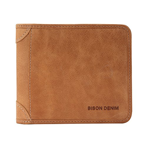 BISON DENIM RFID Blocking Bifold Wallet Slim Thin Mens Leather Wallets Card Id Holders Womens (Brown-3V) (Holder Leather Card Womens)