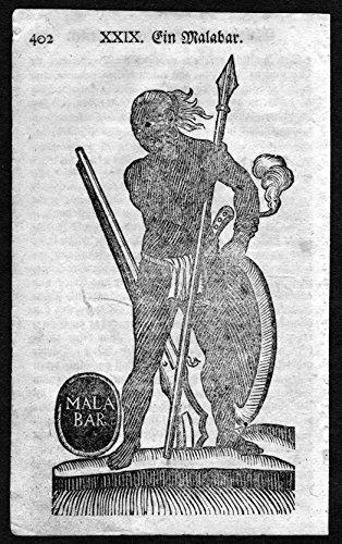 Ein Malabar - Malabar Indien India Tracht Trachten costumes Holzschnitt antique (Tracht Indien)