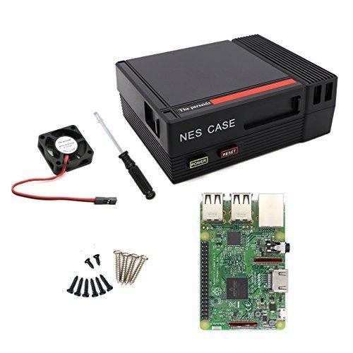 Für Raspberry Starter Kit mit Pi 3 Modell B Barebones Computer Motherboard 64bit Quad Core, schwarzes Gehäuse mit Lüfter