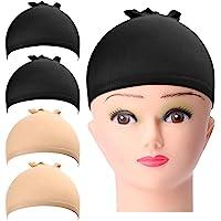 URAQT Wig Cap,Perücke Kappen Caps Nylon Haarnetz Dehnbare,Perückekappe Schwarz Mesh und Neutral Nackt Beige, Elastische…