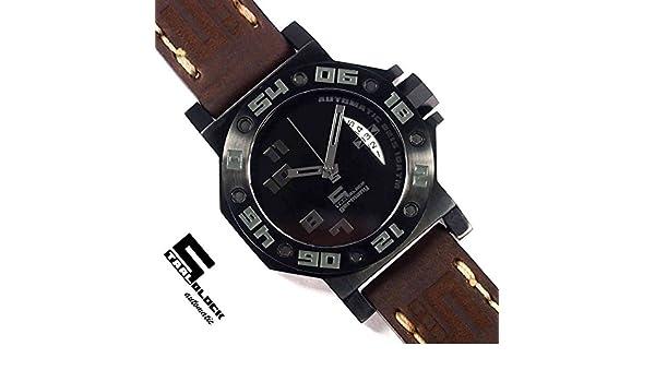Staalblock ArmbanduhrLederband SchwarzUhren 11271 – 12 354LqARj