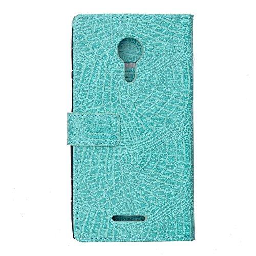 Krokodil Haut Textur Muster Kunstleder Folio Stand Case Soft Silikon Abdeckung mit Kartensteckplätzen für WIKO JERRY 2 ( Color : Black ) Green