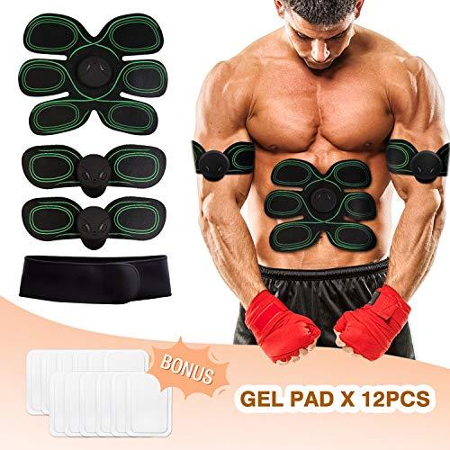 WiMiUS Electroestimulador Muscular Masajeador Eléctrico Cinturón, 10 Niveles & 8 Modos, USB Recargable, Ejercitar Abdomen/Brazo / Piernas/Cintura/ Espalda, Hombre y Mujer
