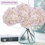 Künstliche Blumen, Meiwo 2 Pcs Real Touch Latex Künstliche Hydrangea Seide Blumen in Vasen für Hochzeit Dekor / Home Dekor / Party / Graves Arrangement(Rosa-Weiß)