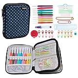 Damero Serie de Crochet Kits de Ganchillo Estuche para Crochet Organizador de Agujas Bolsa de Herramientas Juego del Ganchos (incluido accesorios),Puntos azules--Nueva versión