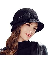 2a3e7c1ddf7 Kenmont Autumn Winter Women Bucket Hat Ladies Short Brim 100% Wool Outdoor  Cap Bow Adjustable