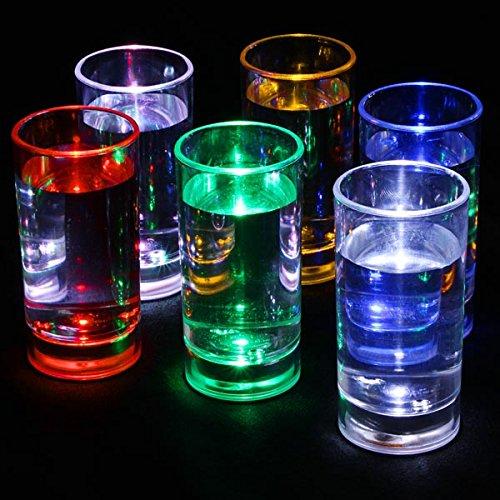 Vasos de chupito con luz intermitente activada, 60ml,juego de 6
