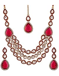 I Jewels Gold Plated Traditional Rani Haar With Earrings & Maang Tikka For Women (MJ02R)