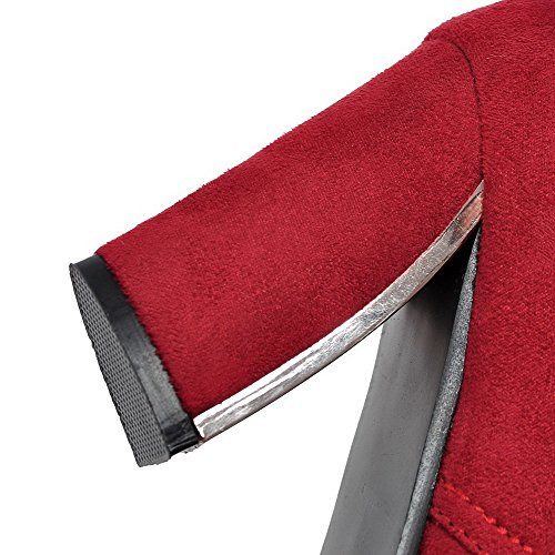 AllhqFashion Femme Suédé Couleur Unie Lacet Pointu à Talon Haut Chaussures Légeres Rouge