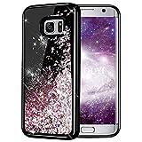 KOUYI Galaxy S7 Hülle Glitzer, Luxus Fließen Flüssig Glitzer Mode 3D Bling Dynamisch Silikon Flexible TPU Kreativ Shiny Glitter Cover Beschützer für Samsung Galaxy S7 (Roségold)