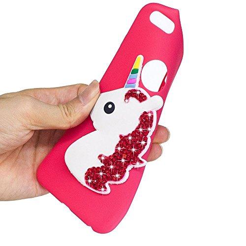 Solaxi iPhone 6 /6S Cover 3D Cartoon Unicorno Bling Glitter Diamante Brillante Lusso Sollievo Motif Guscio Morbido Sottile TPU Silicone Custodia Antiurto della Calotta Shockproof Anti-Scraches Skin Sh Rosso