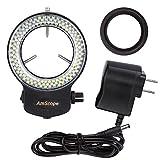 AmScope 144LED réglable Compact Microscope Bague Light + Adaptateur avec Finition Noire