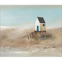 Beach Cabins IV Keilrahmen-Bild Leinwand Strand-Häuser Meer Jean Jauneau