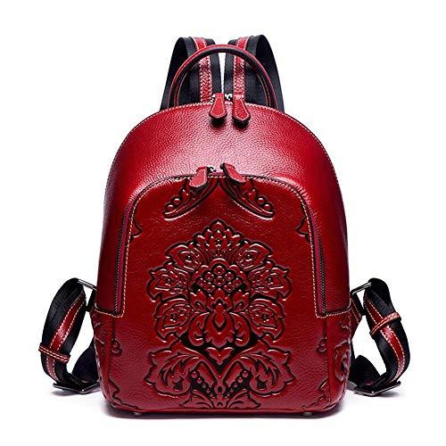 1bcf4670c60f2 DokinReich Rucksack Damen City Rucksack Outdoor süßer Lederrucksack Vintage  Echt Leder 3D Prägung (Rot)