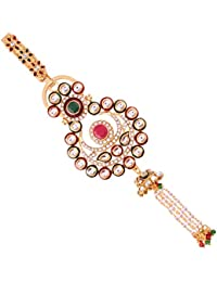 I Jewels Gold Plated Traditional Kundan & Pearl Chabi Challa/Challa Waist Key Chain For Women (KC01QG)